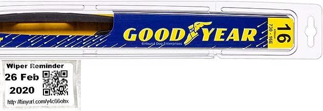 Goodyear Rear - Rear Windshield Wiper Blade Bundle - 2 Items: Rear Blade & Reminder Sticker fits 2008-2010 Chrysler Town & Country (Premium)