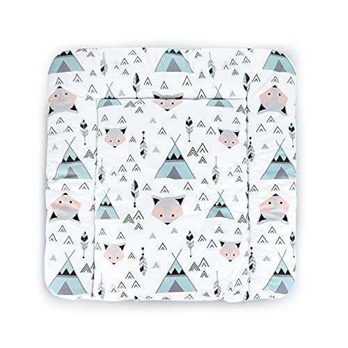 Balbina Wickelunterlage Wasserdicht Wickeltischauflage Wickelauflage baumwolle 60x70 cmFuchs Tipi Mint