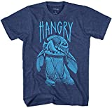 Disney Stitch Hangry Men's Adult Graphic Tee T-Shirt (Navy Heather, Large)