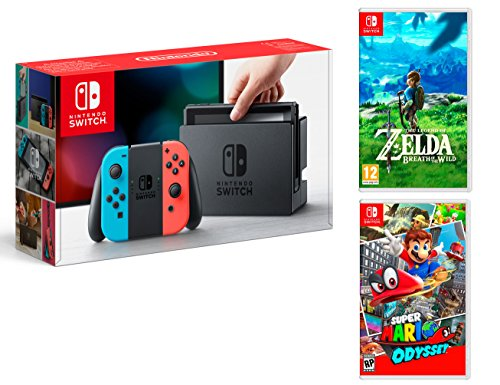 Nintendo Switch Consola 32Gb Azul/Rojo Neón + Super Mario Odyssey + Zelda: Breath of the wild - MEGAPACK
