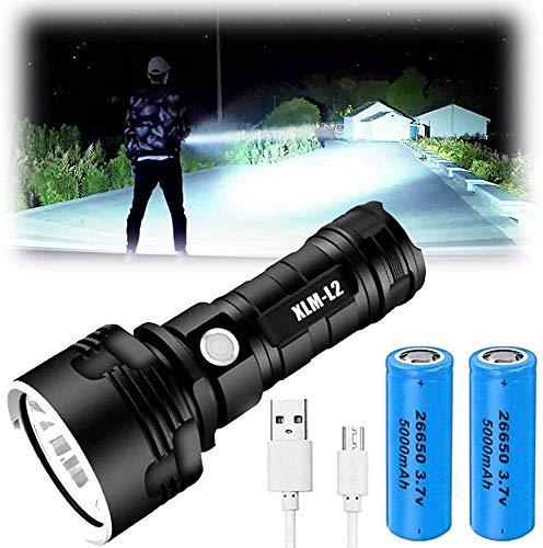 Torcia a LED XLM-P70 - Torcia ad alta potenza da 30000-100000 lumen, 3 modalità Torcia impermeabile super luminosa, Torcia ricaricabile USB, Torcia potente portatile (25W XLM-L2, Doppia Batteria)