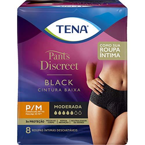Calcinha Descartável Pants Discreet Black P/M 8 Unidades, Tena, Pacote de 8