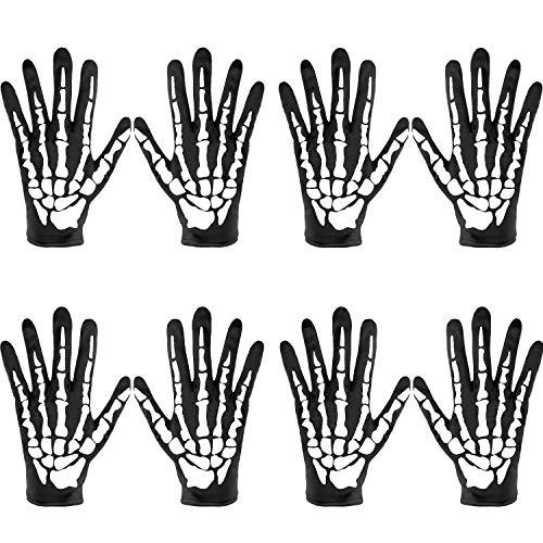 SATINIOR 4 Pares Guantes de Esqueleto de Halloween Guantes de Hueso de Calavera Guantes de Esqueleto de Dedo Completo para Niños y Adultos
