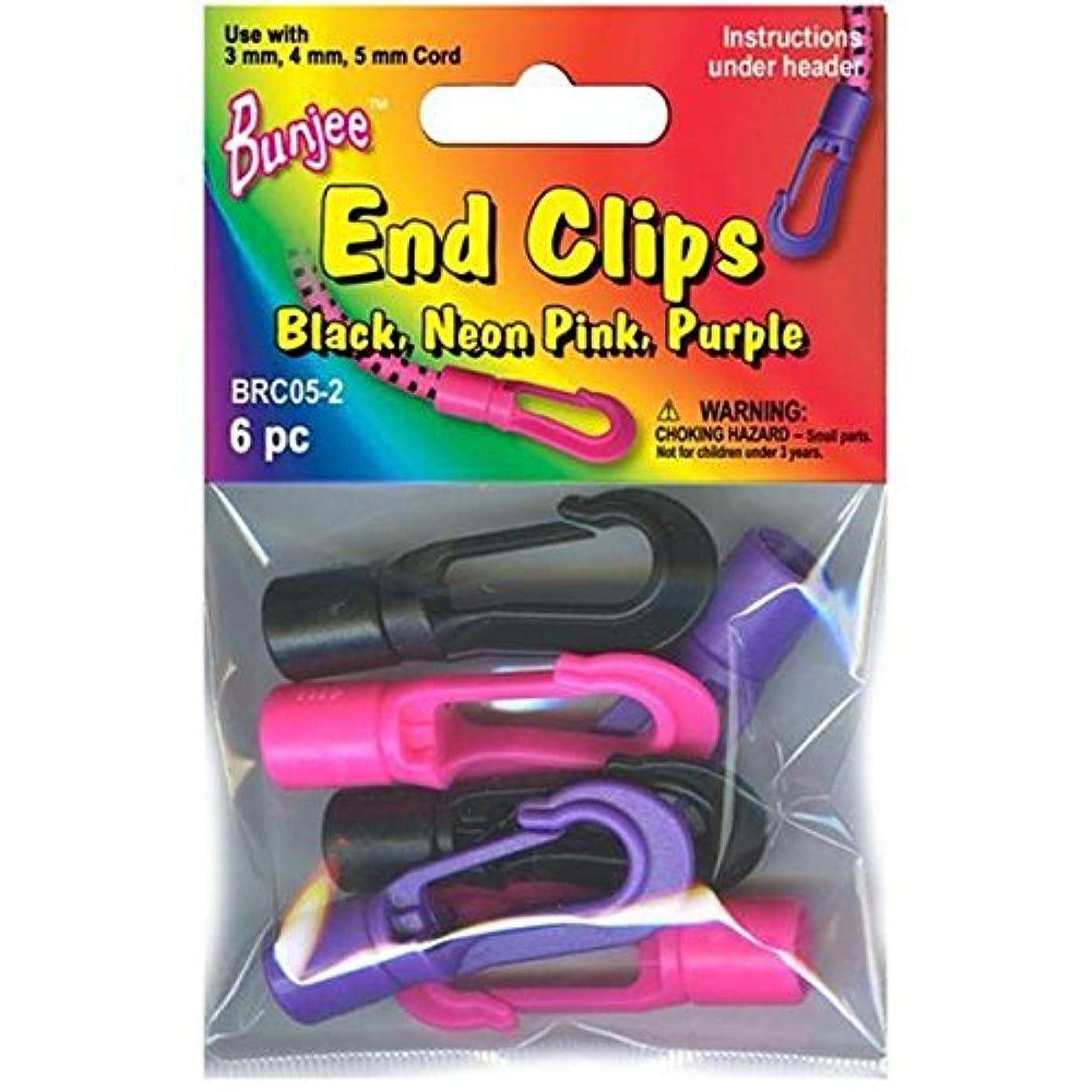 Pepperell Bunjee Cord Bracelet Hook Ends, Black/Neon Pink/Neon Purple, 6 Per Package jo05049642