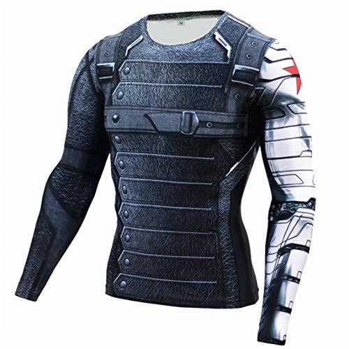 スーパーヒーロー 3D スリムフィット 速乾性 ストレッチ スポーツ コスプレ Tシャツ (XXL, Winter Soldier 長袖)