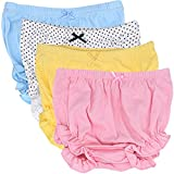 CeeDeek Baby Diaper Covers Combed Cotton Panties 4 Pack Cartoon Bloomers (3-4y, Girls Lacy A)