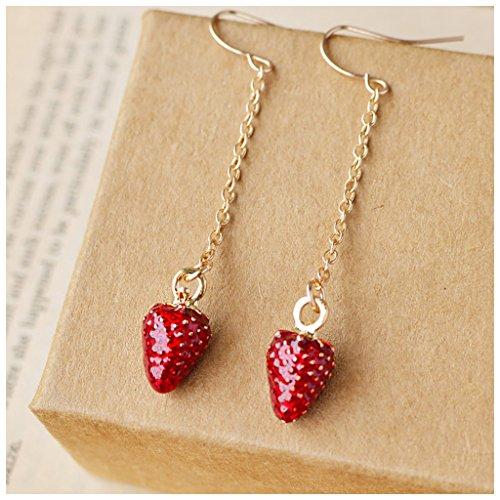 MIXIA Fashion Summer Design Cute Mushroom Fruit Hook Earrings Strawberry Pineapple Tassel Earrings Long Ear Line for Women Friend Gift Minimalist Jewelry (Strawberry)