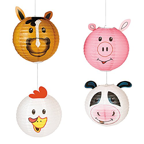 Farm Party Animal Hanging Lanterns (Includes Chicken  Cow  Pig and a Horse) Party Decor