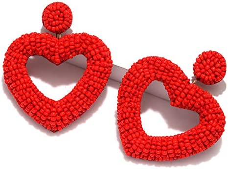 CEALXHENY Beaded Earrings for Women Boho Heart Beaded Drop Earrings Statement Bead Hoop Dangle product image