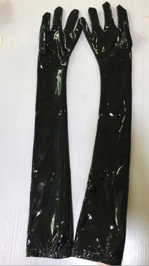Women Lady Sexy Long Arm Gloves Stylish Faux Leather Slim Glossy/Matte - (Color:, Gloves Size: L)