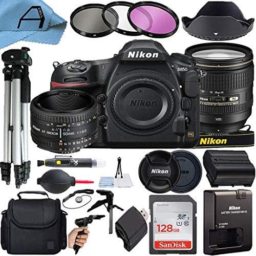 Nikon D850 DSLR Camera 45.7MP Sensor with AF-S NIKKOR 24-120mm f/4G ED VR & 50mm f/1.8D Dual Lens, SanDisk 128GB Memory Card, Bag, Tripod, Filters, A-Cell Accessory Bundle (Black)