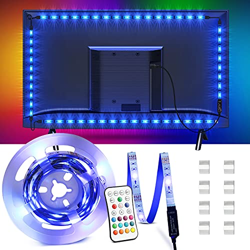 Tira LED 2.2M, OMERIL Tiras LED TV USB Impermeable con Control Remoto, Tira Luz LED RGB con 16 Colores y 4 Modos, Retroiluminacion LED TV para PC, Monitor, HDTV, Gaming, Cine en Casa (40-60 Pulgadas)