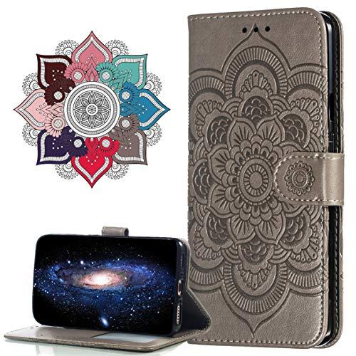 MRSTER Hülle Kompatibel mit Nokia 6.1 Plus, Premium Leder Flip Schutzhülle [Standfunktion] [Kartenfächern] PU-Leder Schutzhülle Brieftasche Handyhülle für Nokia 6.1 Plus/Nokia X6. LD Mandala Grey