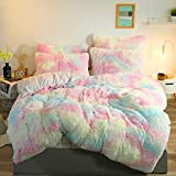 Luxury Plush Shaggy Bedding Sets 1PC Fluffy Bedding Crystal Velvet Ultra Soft Duvet Cover Zipper Closure Twin Size (Not Include Pillowcases),Rainbow