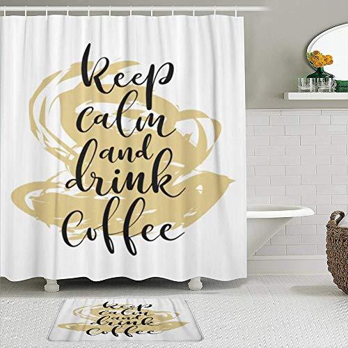 BCVHGD Duschvorhang-Sets mit rutschfesten Teppichen,Alphabet Word Brush Pen Schriftzug Phrase Hal, Badematte + Duschvorhang mit 12 Haken