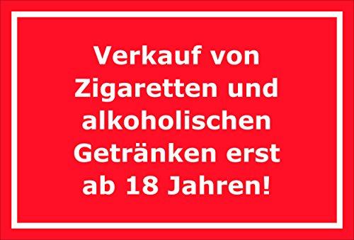 Bord - verkoop van sigaretten en alcoholische dranken pas vanaf 18 jaar - 15x20cm, 30x20cm en 45x30cm - Boorgaten sticker hardschuim Aluverbund S00199D