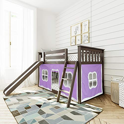 Max & Lily Low Bunk Bed with Slide and Purple Curtains, Twin, Clay