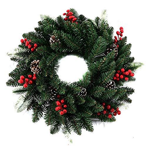 JuneJour Weihnachtskranz Künstlicher Kranz Türkranz Wandkranz Weihnachten Adventskranz Girlande Dekokranz Kränze Hängend Weihnachtsdekoration für Parties Feste Türen Deko, Advent Weihnachten 50cm