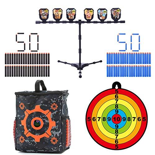 GODNECE Zielscheibe für Nerf, Zielscheibe Set ( 100er Saugnapf Dart Pfeile + Zielscheibe mit Halterung + Pfeile Tasche + Zielscheibe)