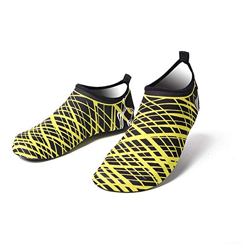 Slip On Beach Sport Aqua Socks, zapatos de playa de secado rápido-1918 rayas amarillas_38-39 longitud del zapato 23CM, zapatos de piel de calcetines descalzos para la playa