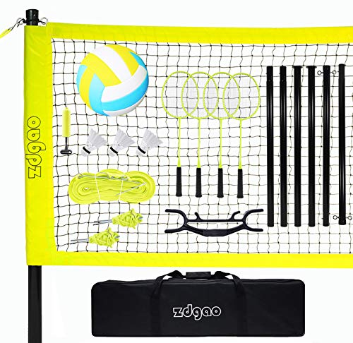 Volleyball and Badminton Set for Backyard and Outdoors with Easy Set-up Volleyball Net + 4 Pro Badminton Rackets + Carrying Bag + Volleyball + Ball Pump, Complete Bundle