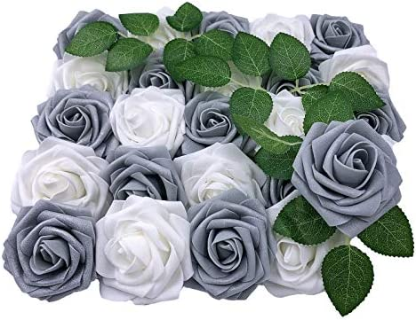 Lmeison Artificial Flowers Shimmer Silver Grey Rose 25pcs Real Looking Artificial Roses w Stem product image