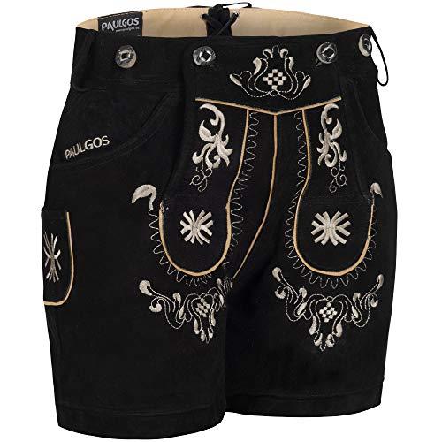 PAULGOS Damen Trachten Lederhose + Träger, Echtes Leder, Kurz in 8 Farben Gr. 34-50 M3, Farbe:Schwarz, Damen Größe:50