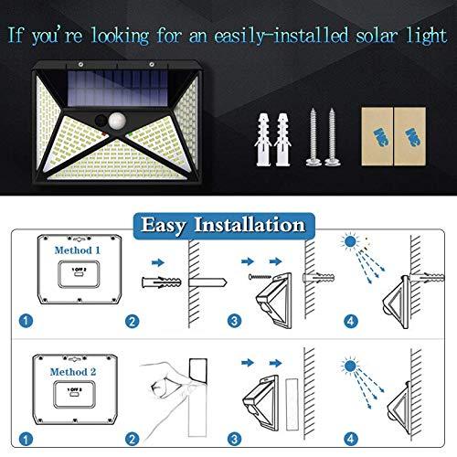 Solar Lights Outdoor [270 LED/4 Working Mode]Solar Motion Sensor Light Outdoor Wireless IP 65 Waterproof Outdoor Lights for Garden Fence Patio Garage (2 Pack)