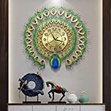 27.6 inch Large Peacock Wall Clock for Living Room Decor Luxury Metal Non-Ticking Silent Art Big Wall Clock Decor Elegant Decorative Modern Wall Clock Green