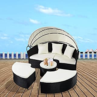 Costway Daybed Patio Sofa Furniture Round Retractable Canopy Wicker Rattan Outdoor