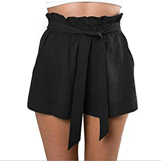 BSGSH Women Shorts Casual High Waist Casual Frill Loose Self-Tie Belted Shorts with Pockets