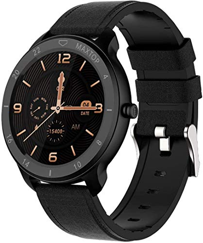 MAXTOP Smart Watch Android Compatible with iPhone Samsung, Bluetooth Android Smart Watches Waterproof, Smartwatch iPhone Fitness Activity Tracker with Monitor Heart Rate Sleep for Women Men (Black)