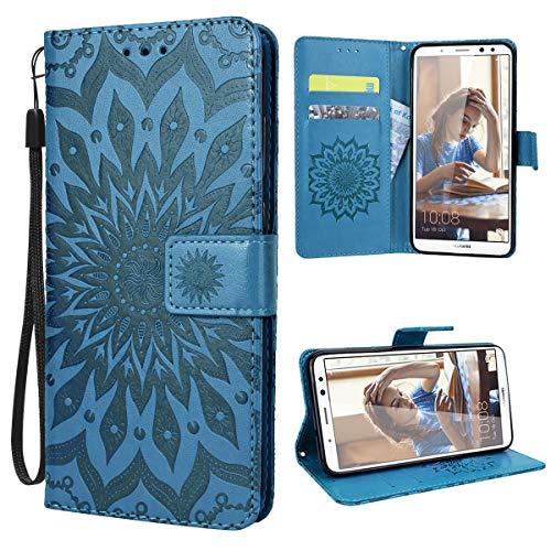 VemMore Kompatibel für Huawei P10 Lite Hülle Handyhülle Schutzhülle Leder PU Wallet Flip Hülle Bumper Lederhülle Ledertasche Blumen Muster Klapphülle Klappbar Magnetisch Sonnenblume - Blau