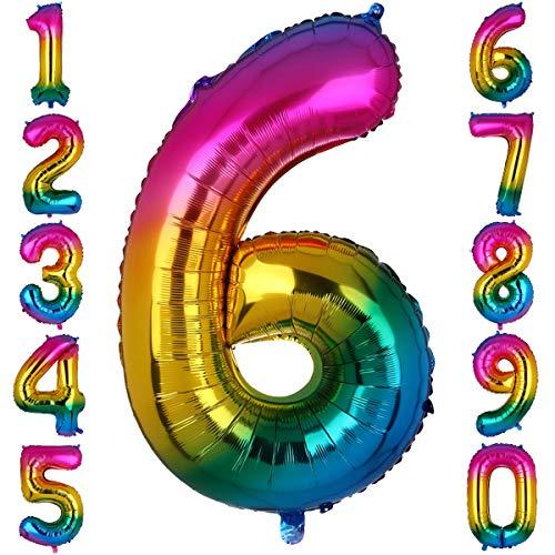 Big Eye Owl 100 cm Groß Regenbogen Zahl 6 Folienballon Luftballon Folien Mylar Riese MäDchen Helium Ballons Geburtstag Party Deko Lieferungen Baby
