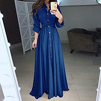 TSEINCE Falda 5XL Plus Size Spring Button Vestido de Gasa de Manga Larga Mujer Vestido Largo Largo Elegante Camisa Plisada Ajustada Vestidos