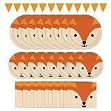 Creative Converting Fox Theme Party Dinnerware Bundle   Napkins, Plates, Banner   Animal Faces Decoration, Woodland Birthday, Baby Shower Decor