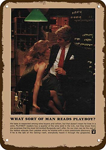 Laptopo 1982 What Sort of Man Reads Playboy? Vintage Look Replica Metal Sign Sexy Woman