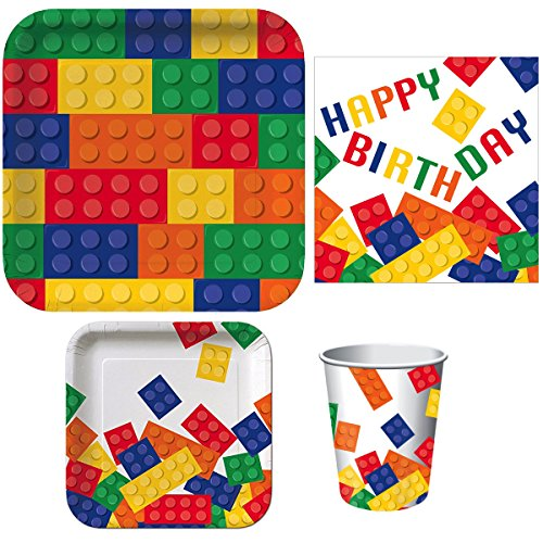 Building Blocks Birthday Party Supply Bundle Includes Dinner Plates, Dessert Plates, Happy Birthday Napkins and Hot/Cold Cups (Serves 16)