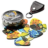 Van Gogh 12 Pack Guitar Picks with Real Leather Picks Holder - Celluloid Medium Plectrums Unique Gifts For Guitarist