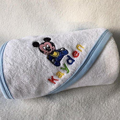 Nom personnalisé Mickey Mouse bébé lavage serviette chiffon. Belle broderie de haute qualité