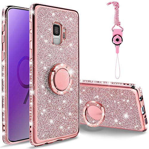 KUOGAS for Samsung Galaxy S9 Diamond Case, Cute Bling Glitter Rhinestone Crystal Shiny Sparkle Protective Cover with Electroplate Plating Bumper Luxury Fashion Case for Galaxy S9 (Rose Gold)