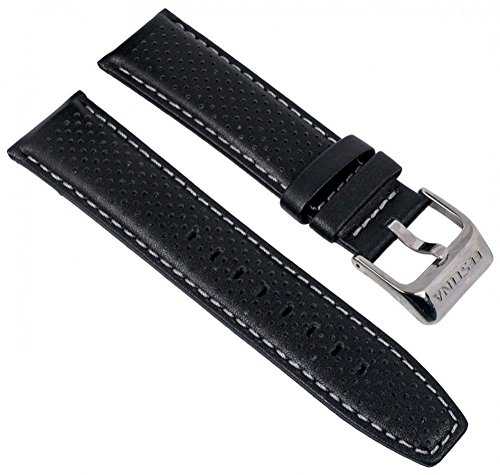 Festina Uhrenarmband Ersatzband Leder Band mit Kontrastnaht 23mm für alle Modelle F16585, Farben:schwarz