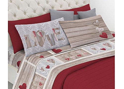 BIANCHERIAWEB Completo Lenzuola in Morbida Flanella Disegno Shabby Love 2 Piazze matr.Le Rosso