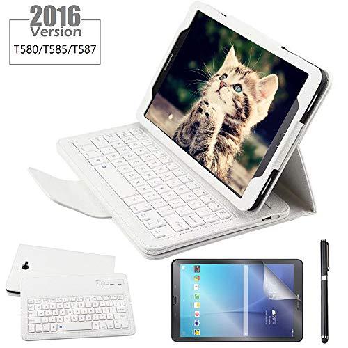 REAL-EAGLE Galaxy Tab A 10.1 Teclado Funda(QWERTY), Funda de Cuero con Desmontable Inalámbrico Bluetooth Teclado para Samsung Galaxy Tab A6 10.1 2016 SM-T580/T585/T580N/T585N Tablet, White