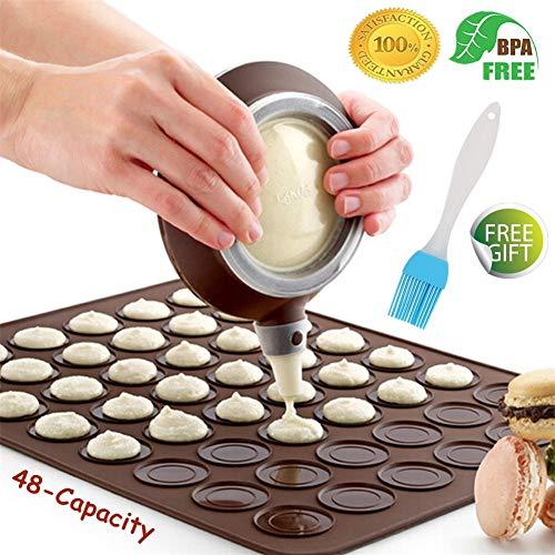 Macaron Molde - 48 Capacidad Macaron Silicone Baking Mat y decorating Pen Icing Tips con 4 boquillas (Café+Cepillo)