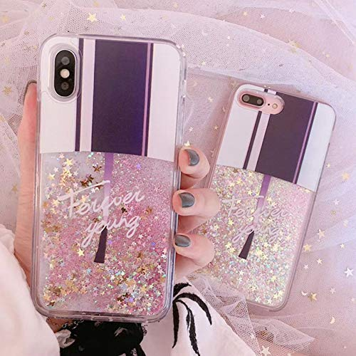 XUHRA Nagellak patroon Telefoonhoesje Voor iPhone X XS XR XS Max 8 7 6 6S Plus Glitter Flowing Poeder Harde PC Back Cover, Voor iPhone XR