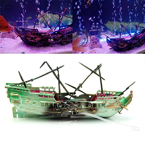 Xuniu Aquarium wrack boot gezonken schip Air Split scheepswrack Ornament Aquarium hol decor (24x12 cm)