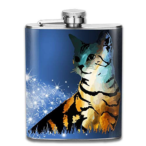 Cat Graphic Art 304 Stainless Steel Pocket Hip Flask Outdoor Portable Pattern Flagon Water Flasks 70Z