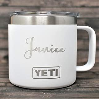 Custom YETI Tumbler Mug with Name Monogram 14 Oz - All Colors and 50+ Designs - Personalized YETI Mug Custom YETI Rambler Tumbler - Engraved YETI Monogrammed Yeti Laser Engraved Coffee Tumbler