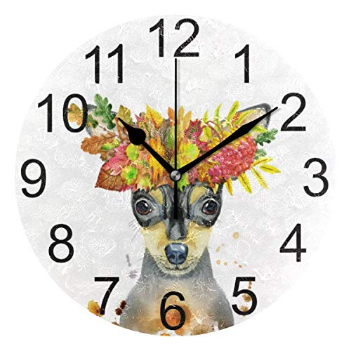 FETEAM Funny Puppy Pug Dog Wall Clock Battery Operated Wreath Autumn Leaves Clock Round Quartz Clocks Bedroom School Office Kitchen